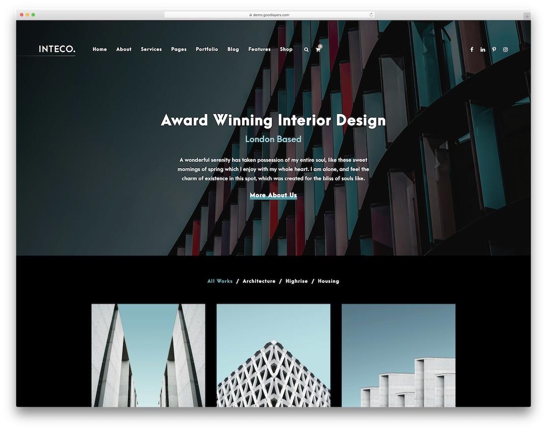 inteco interior design wordpress theme