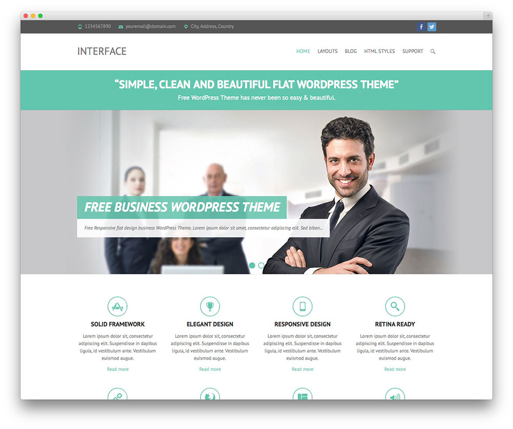 50 best free responsive wordpress themes 2018 colorlib interface free business theme pronofoot35fo Gallery