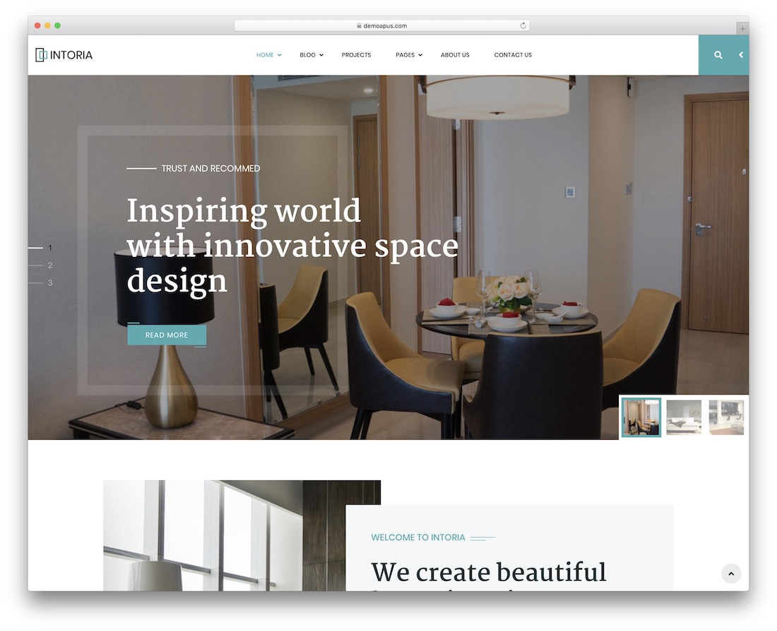 intoria wordpress theme for architects