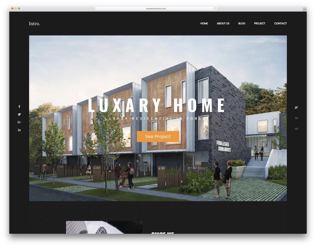 intro interior design website template