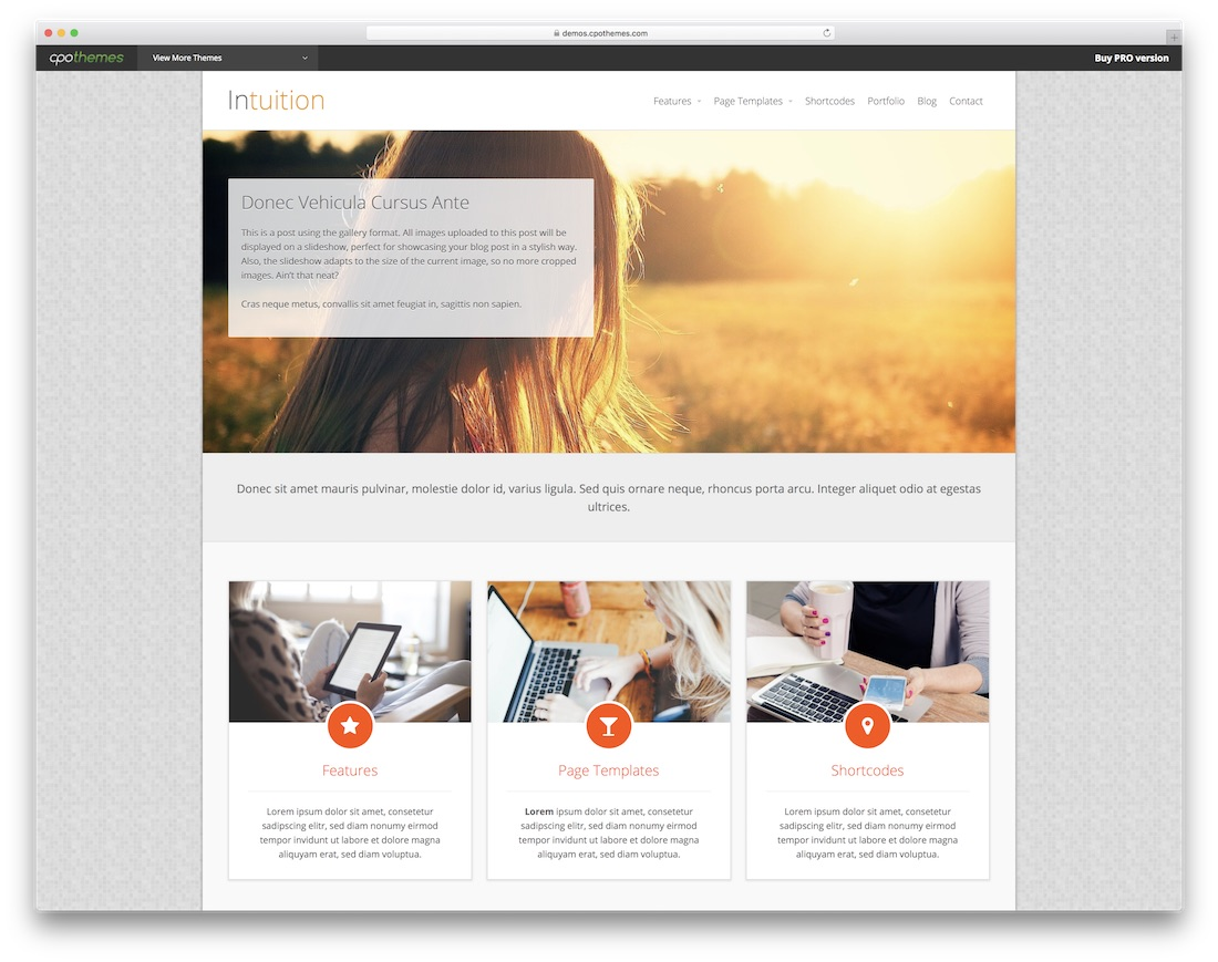 intuition free news website template