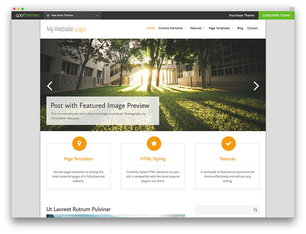 intuition WordPress template