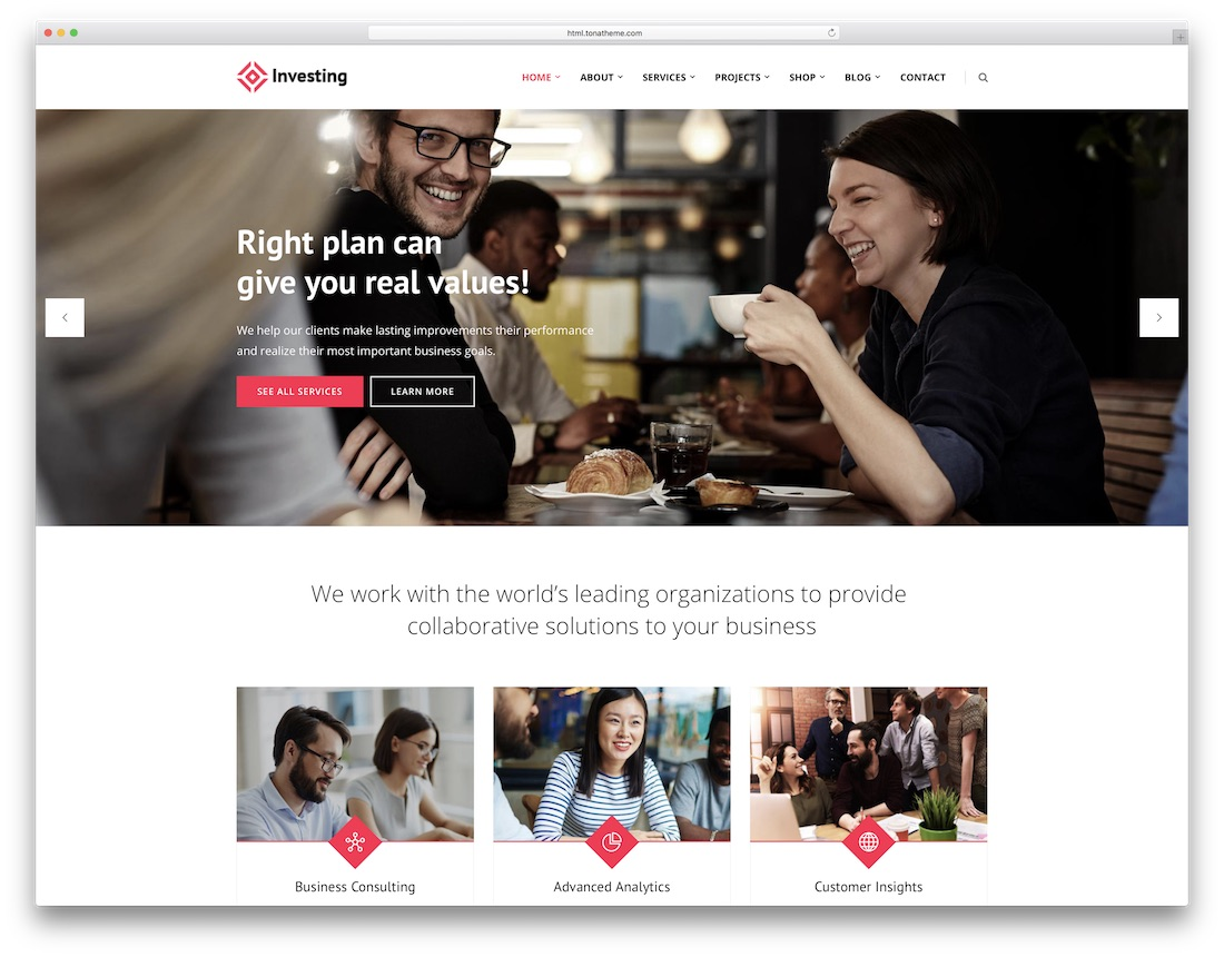 investing consulting website template