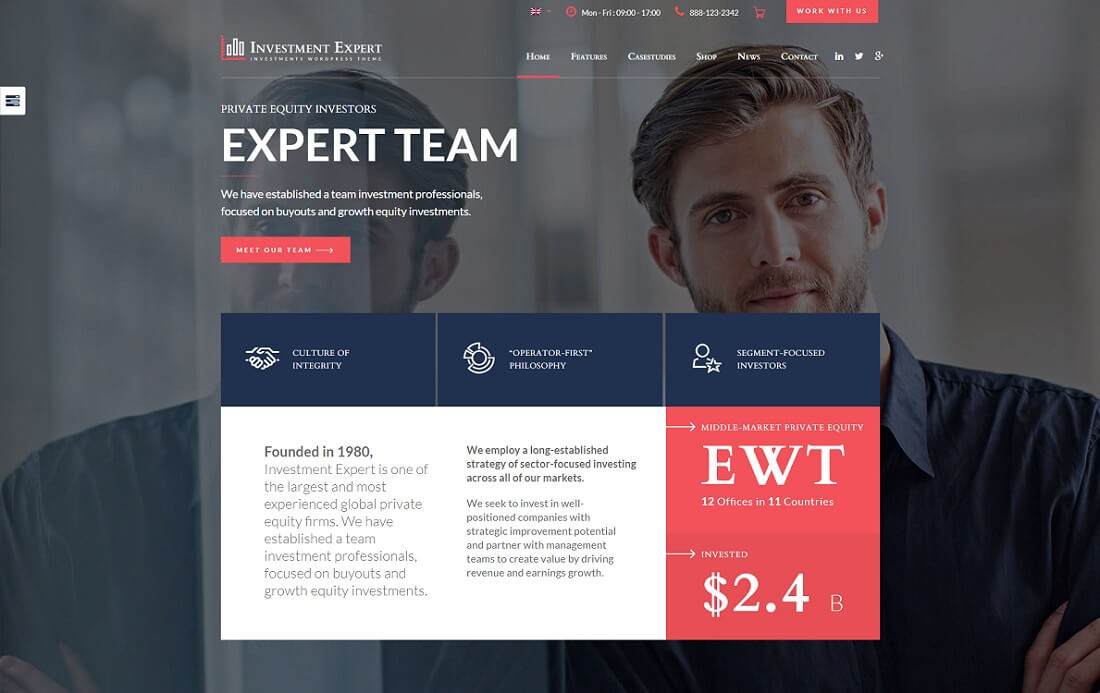 investment expert cryptocurrency wordpress theme