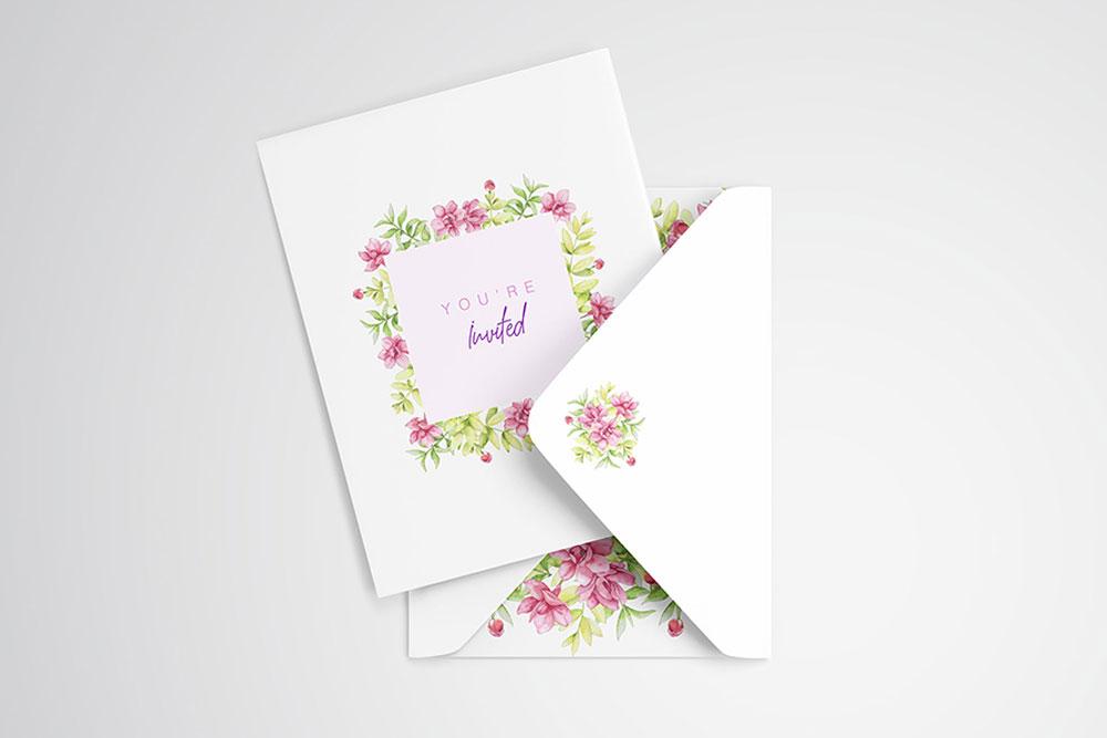 invitation card psd mockup