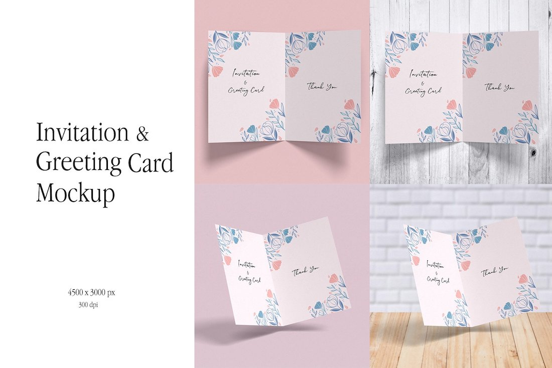 invitation greeting card mockup