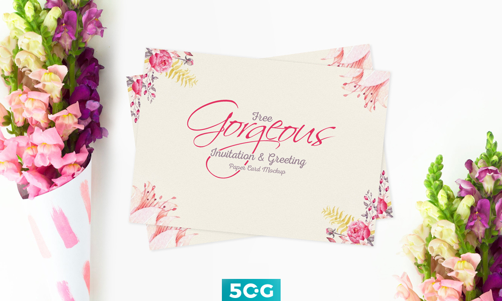 invitation greeting card psd mockup