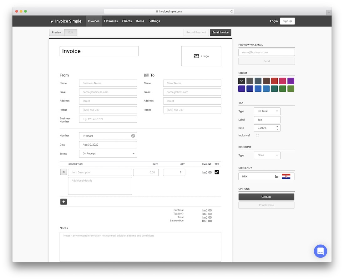 invoice simple free invoice tool