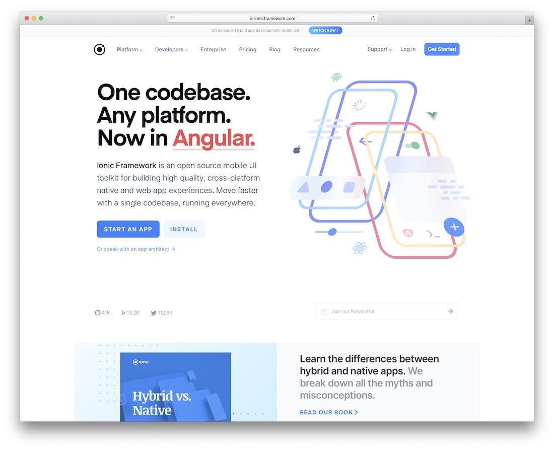 ionic html5 framework with angular