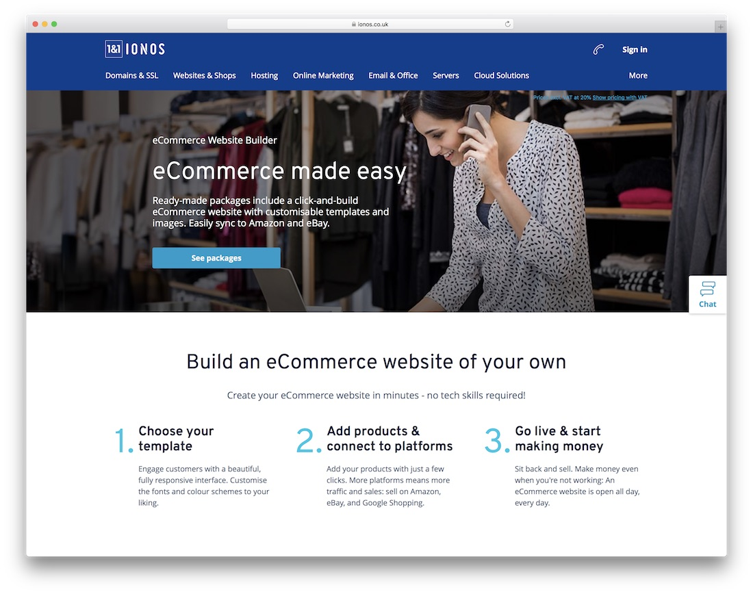 ionos cheap ecommerce website builder