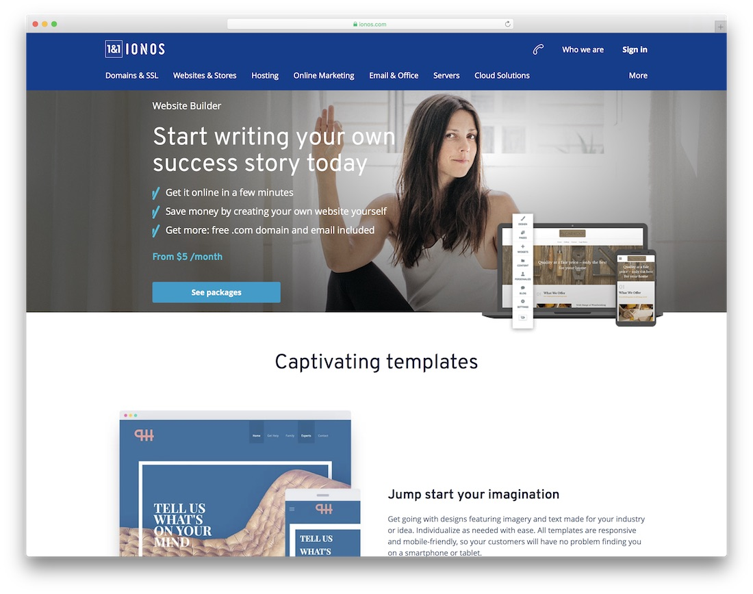 ionos personal website builder