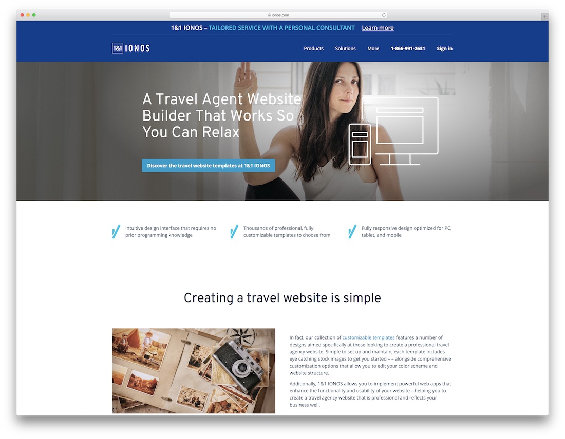 ionos travel agency website builder
