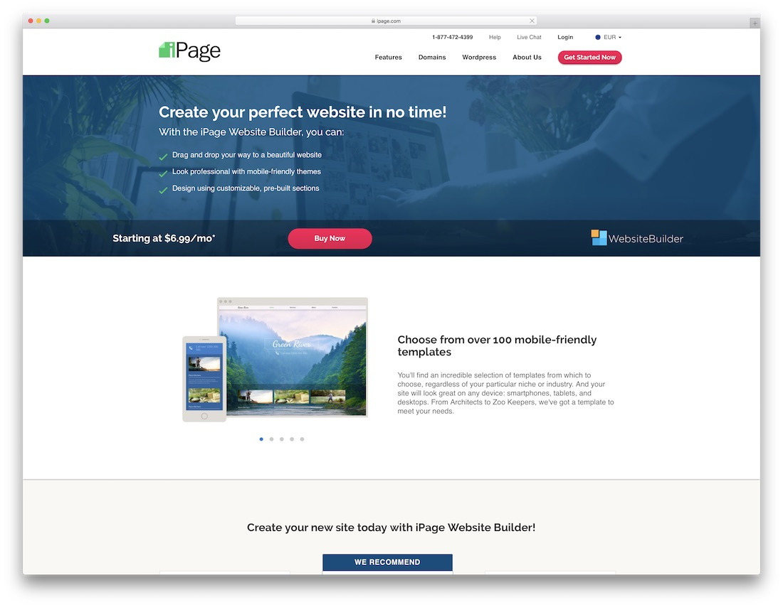 ipage cheap ecommerce website builder
