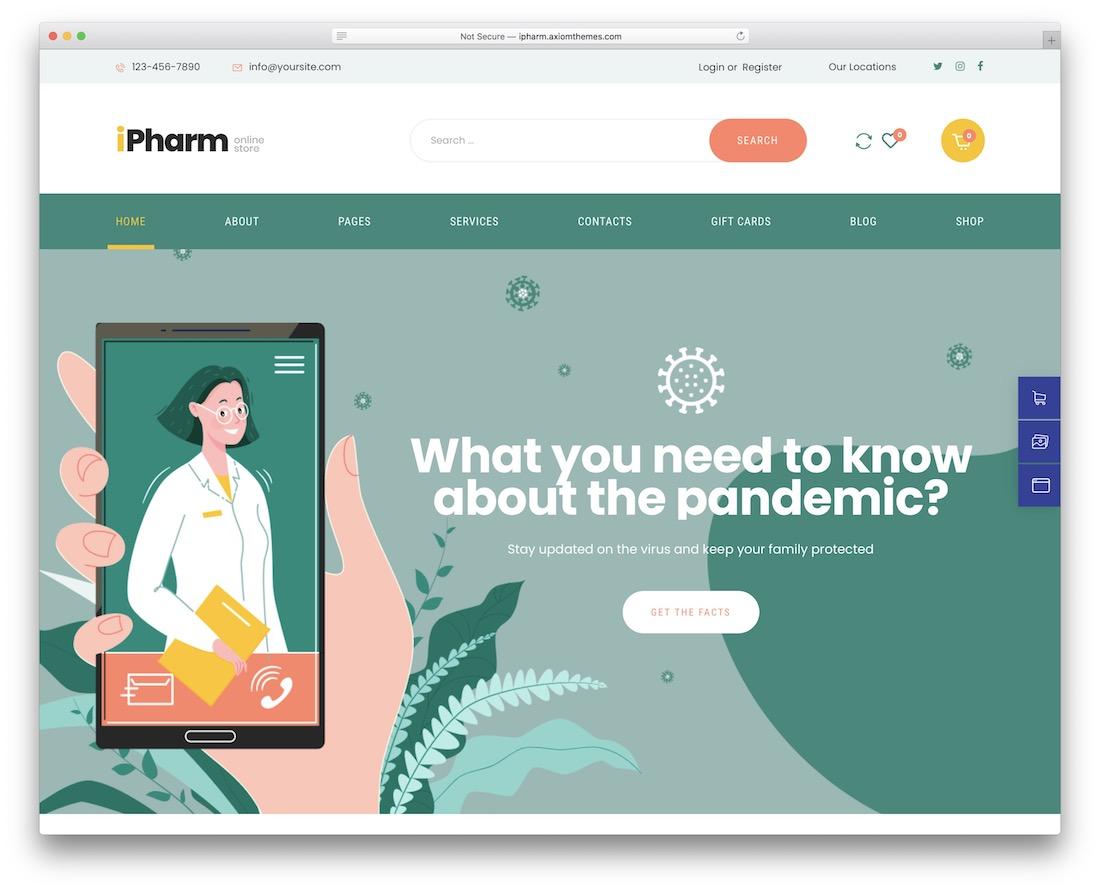 ipharm doctor wordpress theme