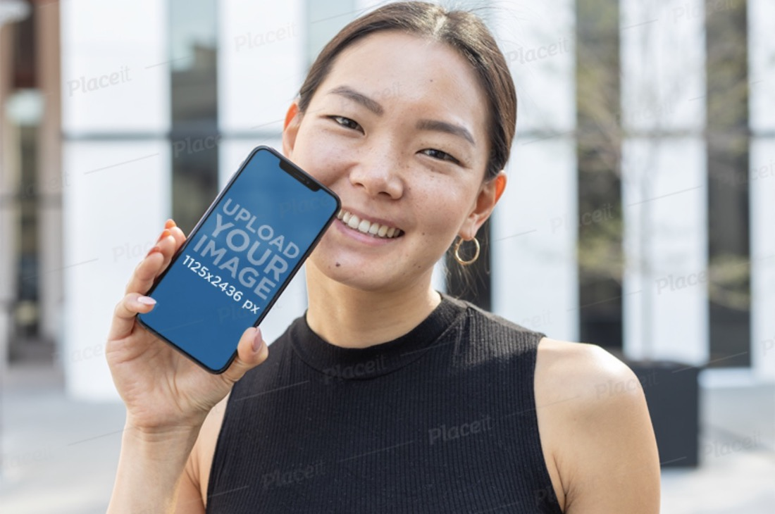 iphone 11 mockup featuring a smiling woman