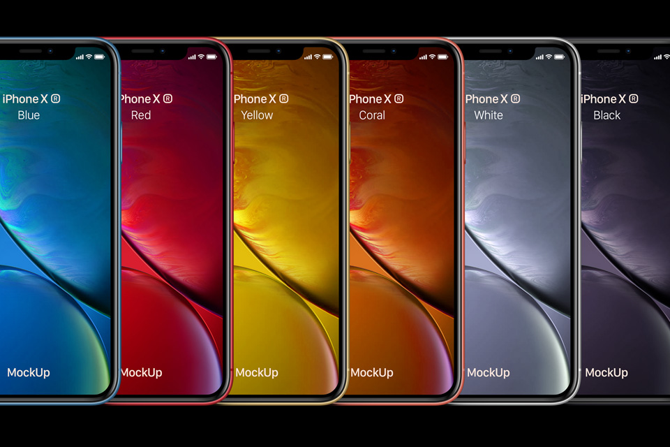 iphone XR max all colors sizes psd graphic free mockup