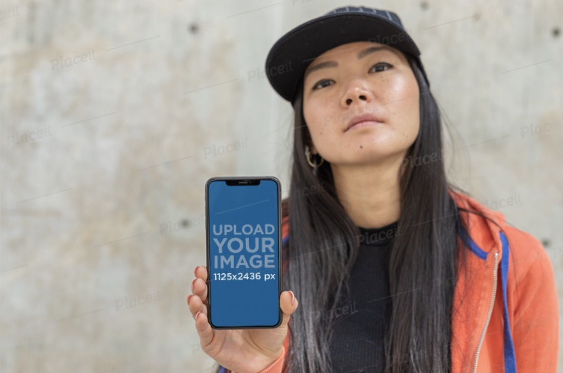 iphone xs mockup featuring a girl with swag