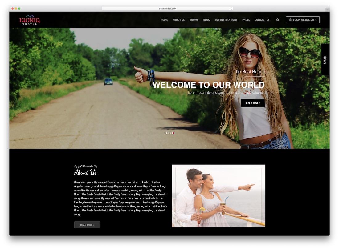 iqoniq travel website template