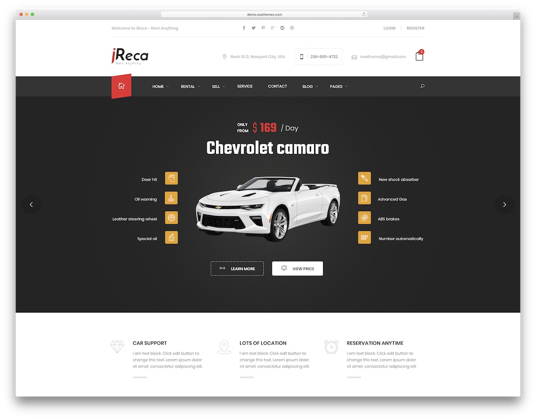 ireca car rental wordpress theme