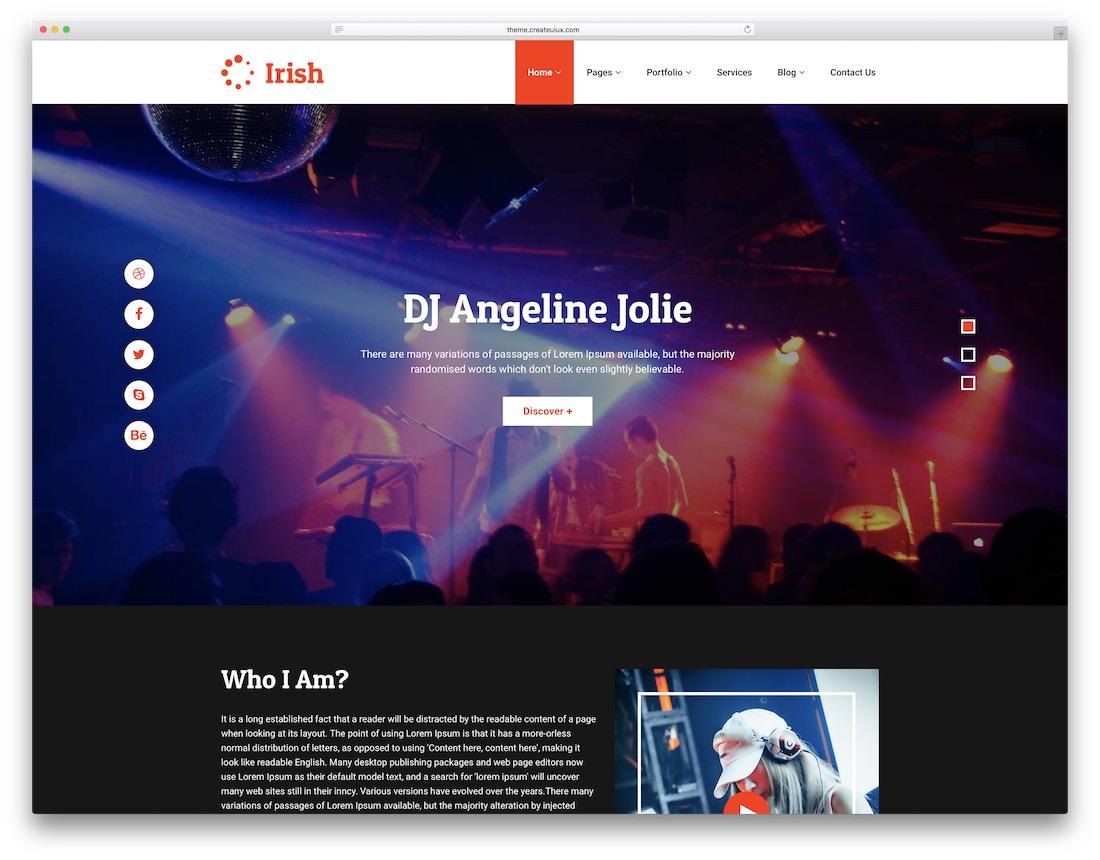 irish musician website template