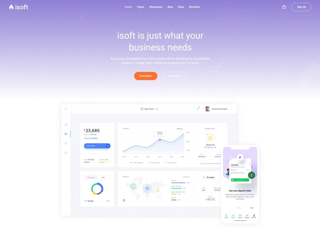 Isoft | Powerful WordPress Theme for Saas, App and Startups