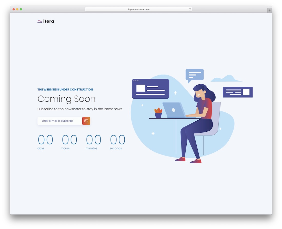 itera coming soon wordpress theme