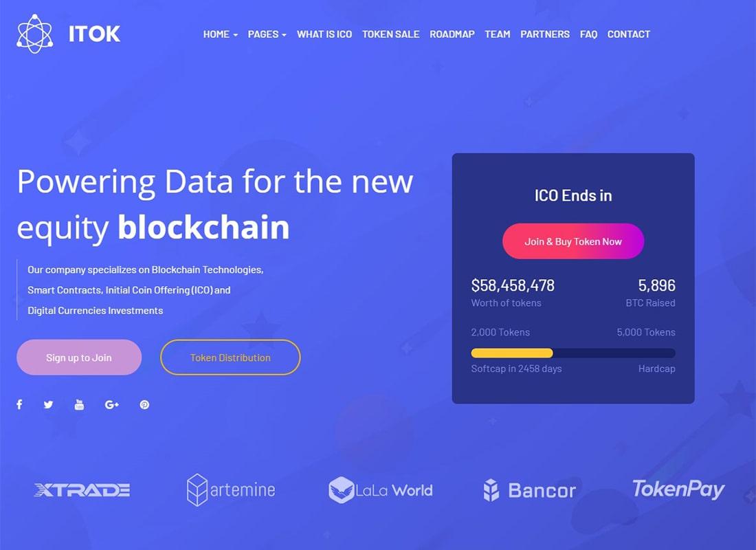 ITok | ICO and Cryptocurrency WordPress Theme