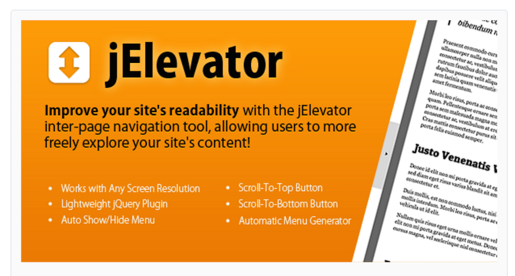 jElevator jQuery Inter-Page Navigation Tool