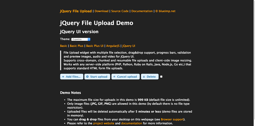 jQuery File Upload Demo jQuery UI version