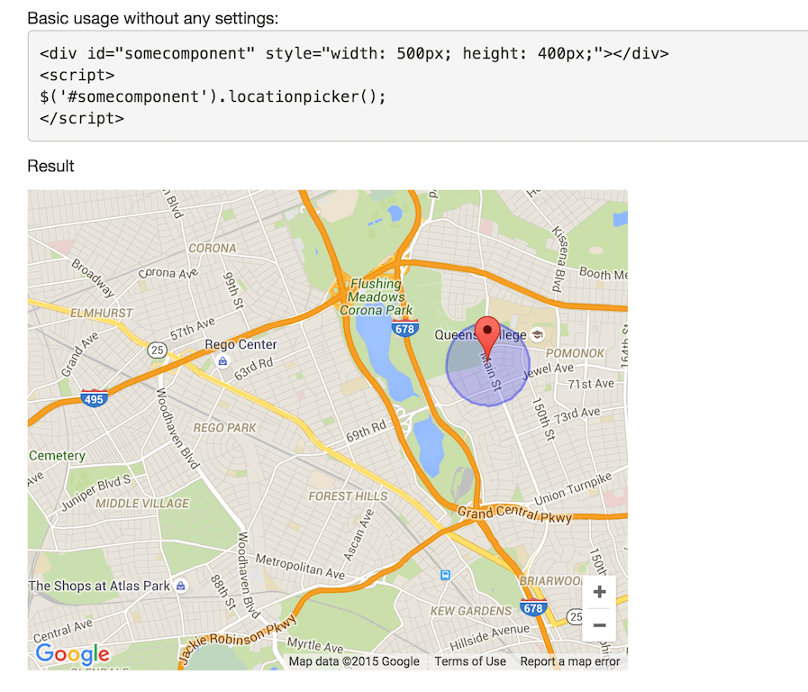 jQuery Location Picker -- Demo