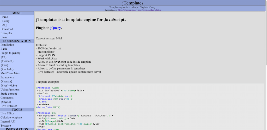 jTemplates template engine in JavaScript