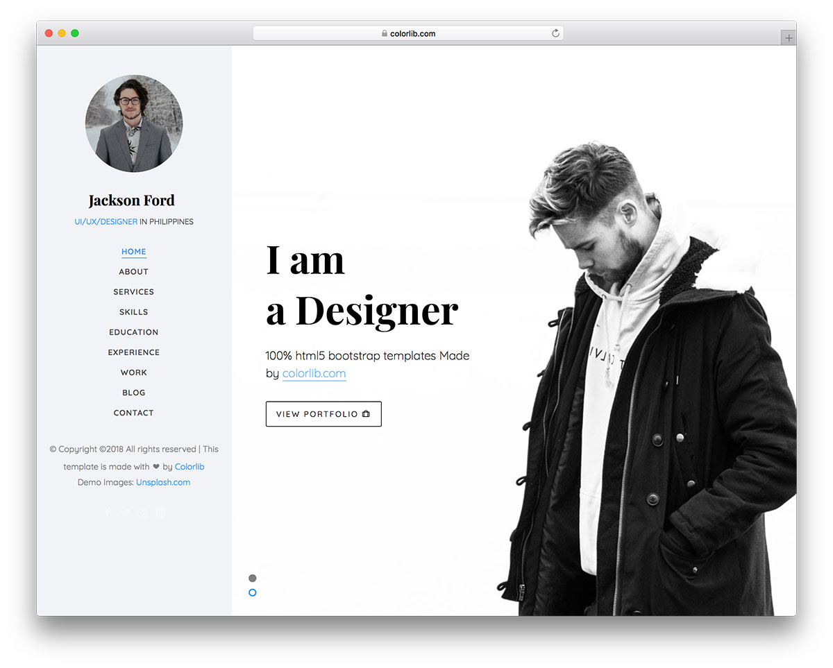 20 free personal website templates to boost your brand 2018 colorlib to create a simplistic yet creative page jackson is the free personal website template you want to look into based on the powerful bootstrap framework maxwellsz