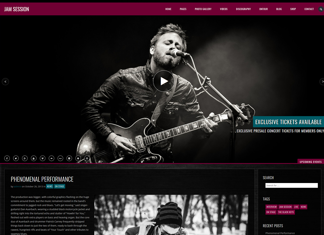 JamSession   Music & Music Band WordPress Theme