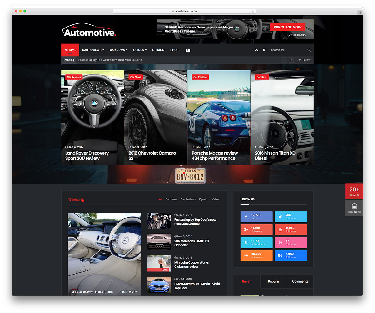 Top 20 Automotive WordPress Themes For Auto Rentals, Car Dealerships ...