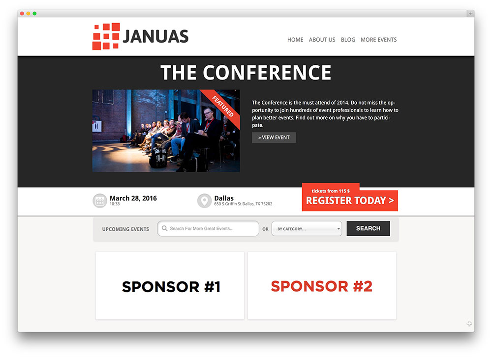 30 awesome wordpress themes for conference and event 2017 colorlib januas event management template pronofoot35fo Image collections