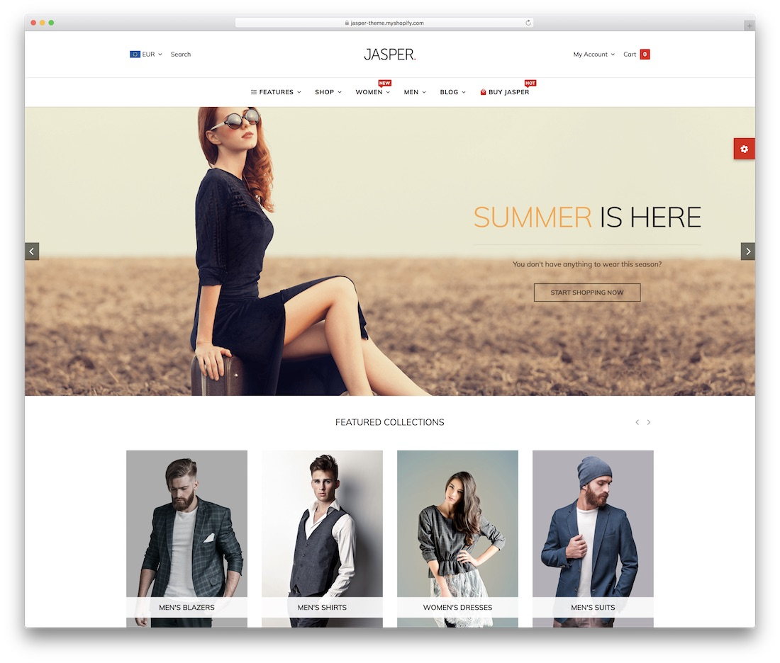 jasper shopify technology theme