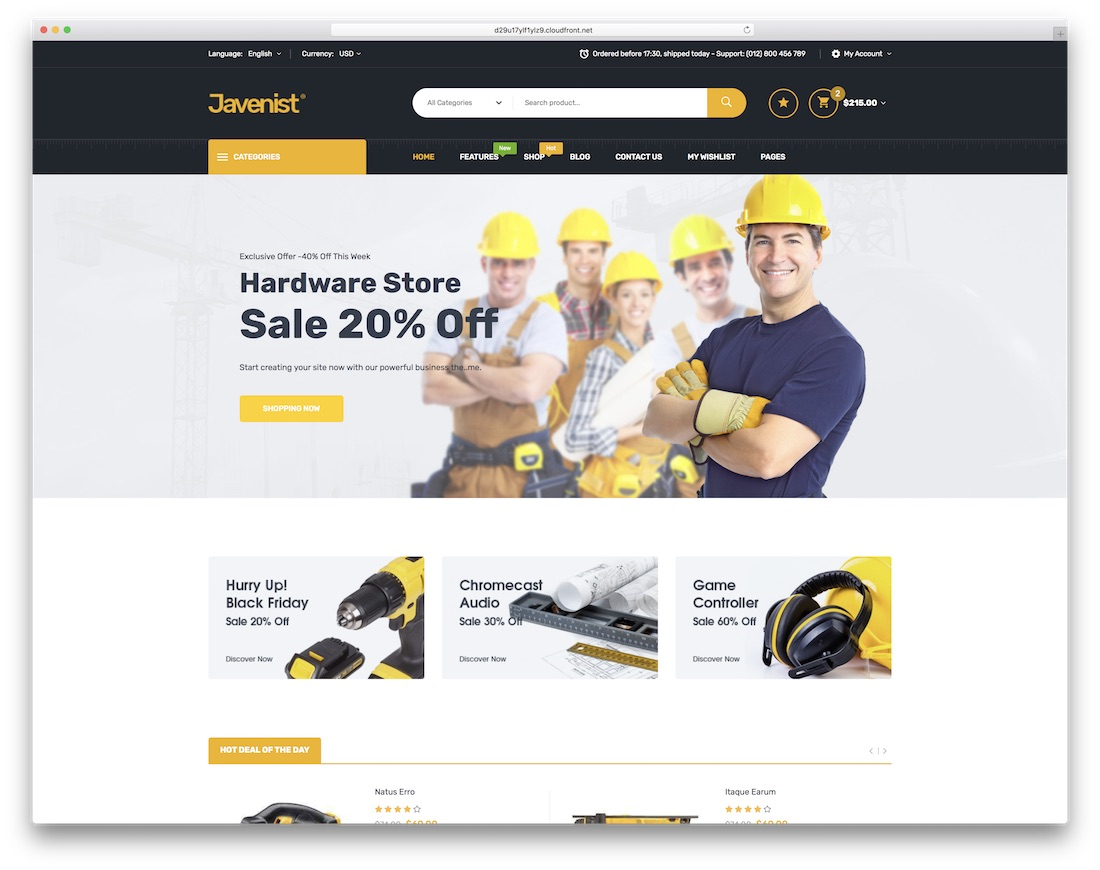 javenist ecommerce website template