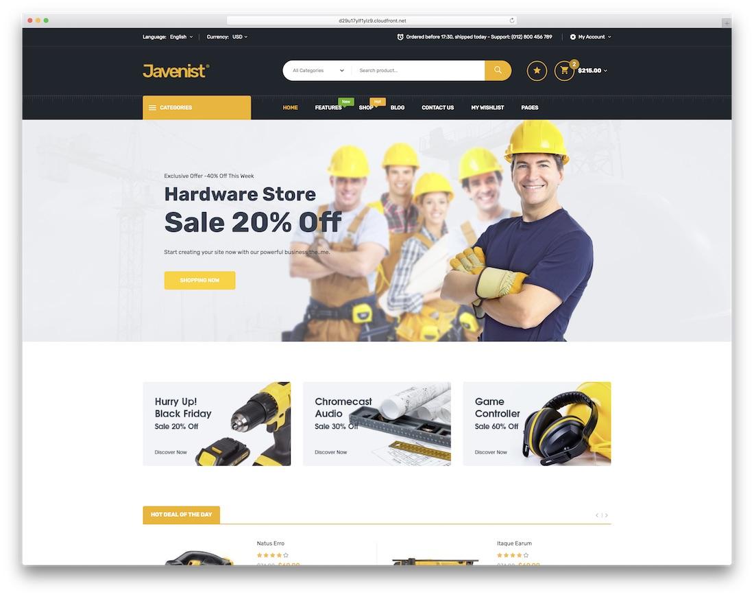 javenist ecommerce website template