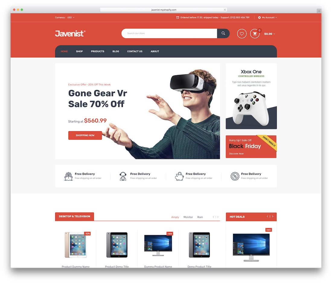 javenist shopify technology theme