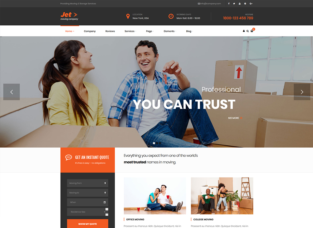 Jet | Home Moving Services WordPress Theme