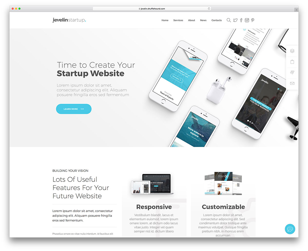 20 top business website templates html5 wordpress 2018 colorlib jevelin is a high quality multi purpose wordpress theme its consider because every kind of business or personal site can relate to it accmission Images