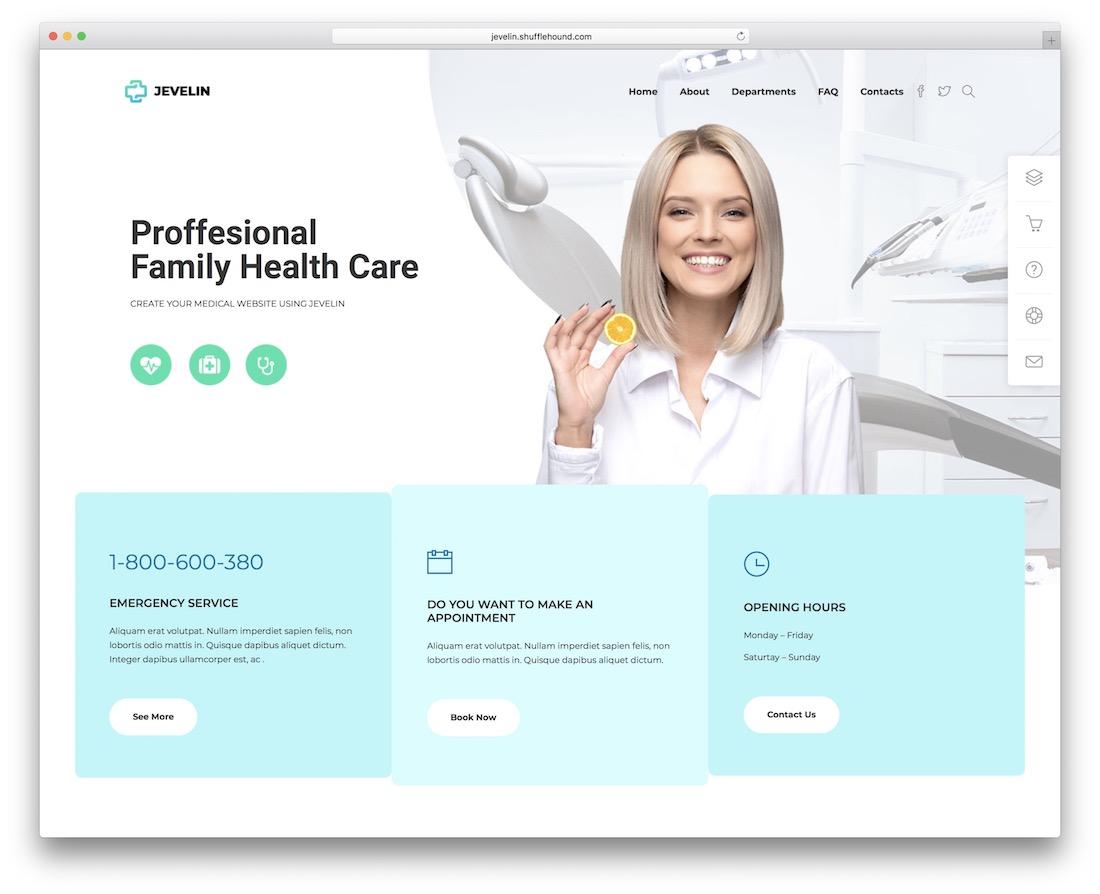 jevelin medical website template