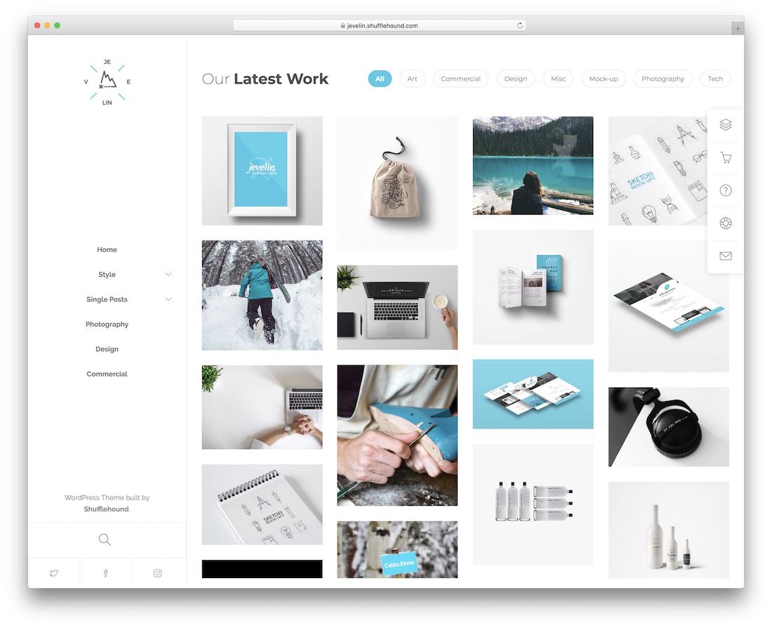 jevelin personal website template