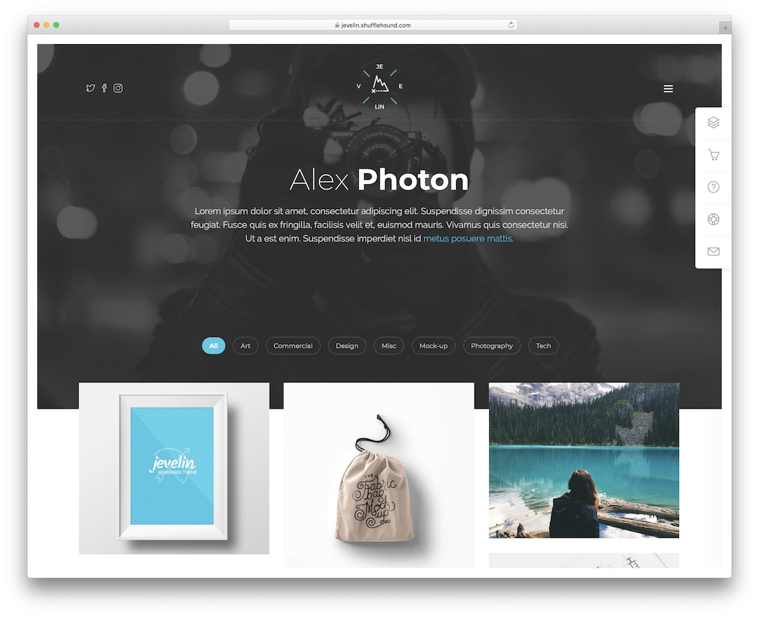 jevelin photo gallery website template