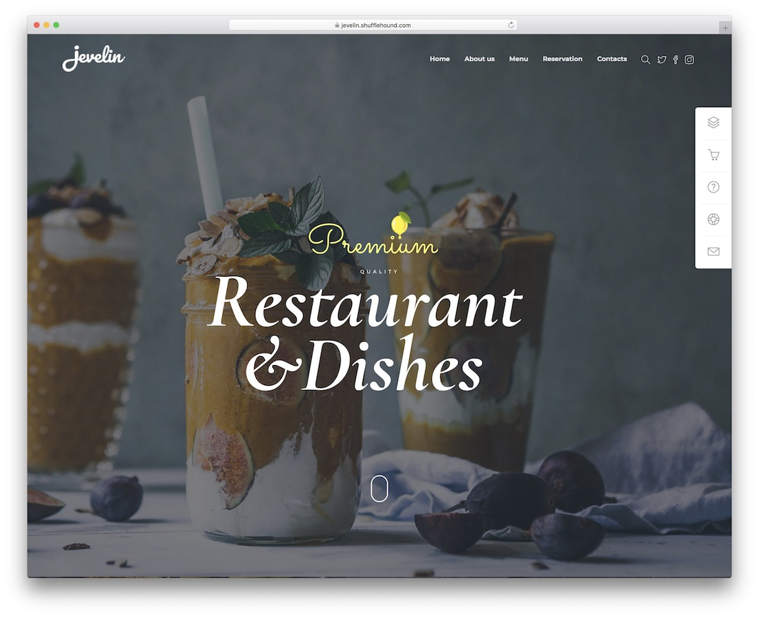 jevelin restaurant website template