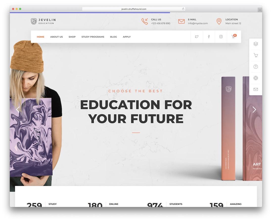 jevelin school website template