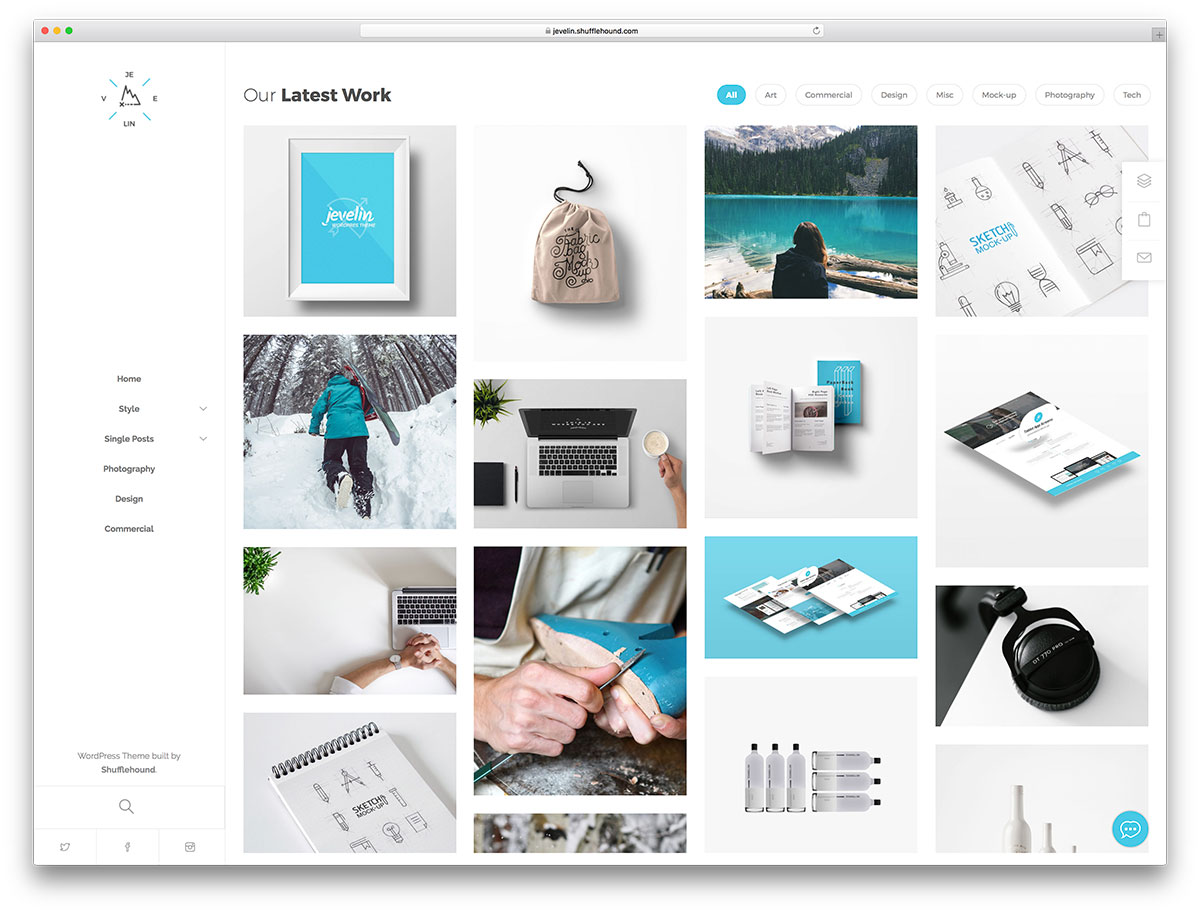 Portfolio showcase WordPress theme