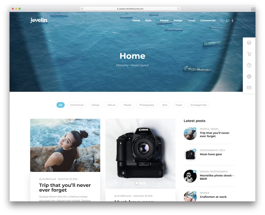 jevelin writer website template
