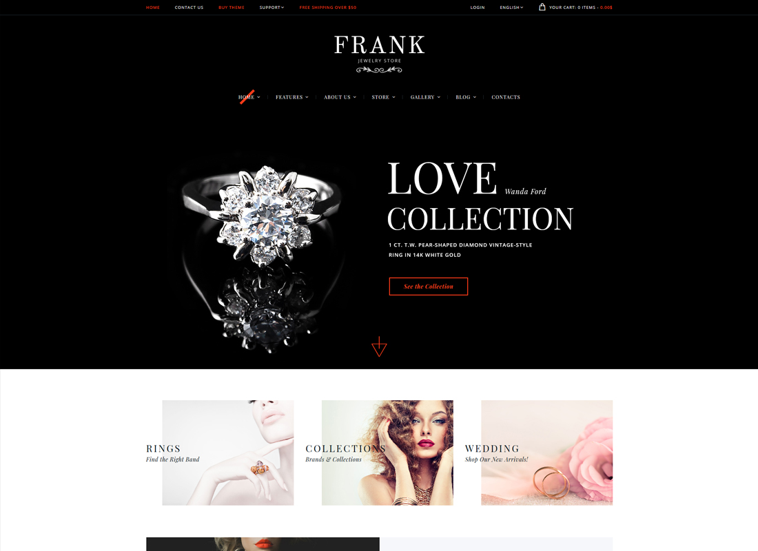 Frank | Jewelry & Watches Online Store WordPress Theme