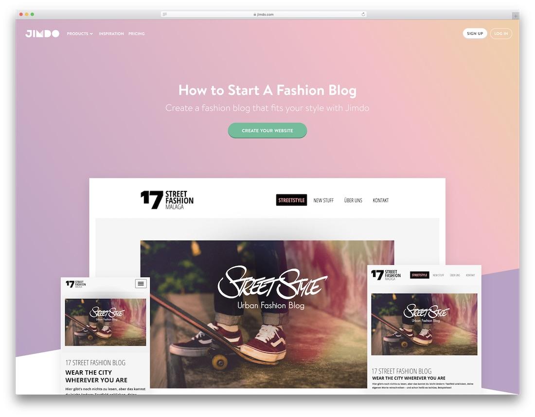 jimdo fashion website builder